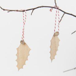 Weihnachtsbaumanhänger Holz Ilex