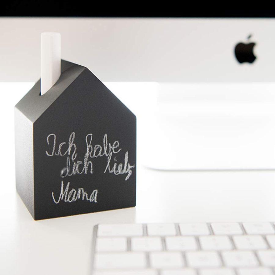 Deko-Holzhäuschen schwarz für Kreide, Vase und Kerze
