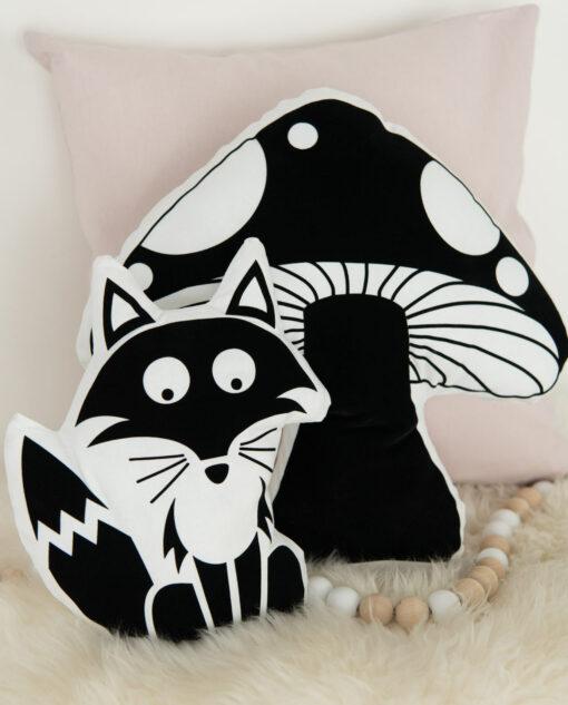 Kissen Kinderzimmer Fliegenpilz und Fuchs