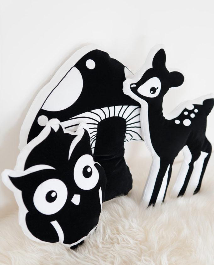 Kissen Fliegenpilz schwarz-weiß