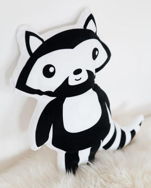 Kissen Waschbär schwarz-weiß