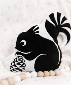 Kissen Kinderzimmer Eichhörnchen schwarz-weiß
