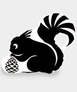 Tierkissen Eichhörnchen schwarz-weiß