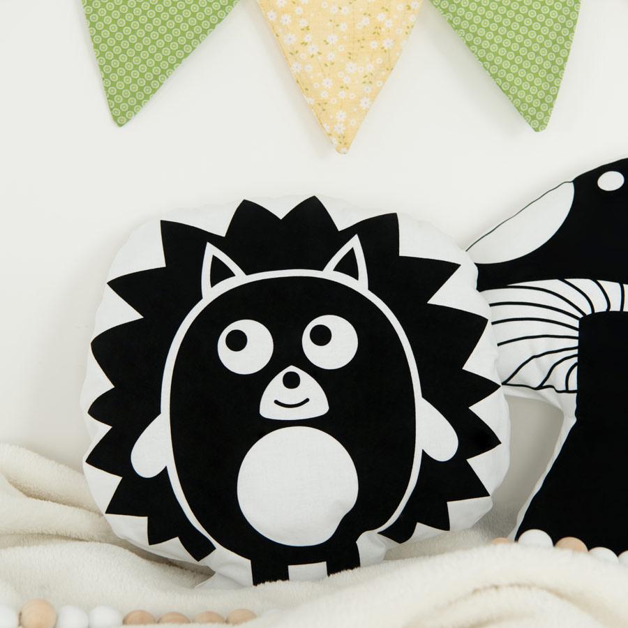 Kissen Igel schwarz-weiß