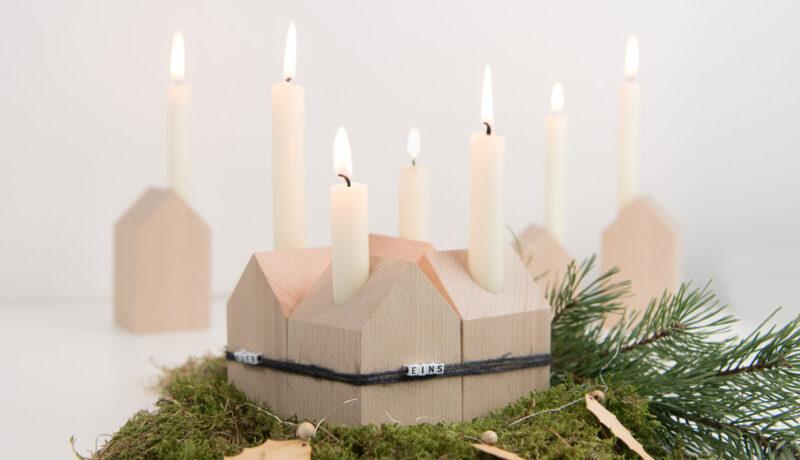 Außergewöhnlicher Adventskranz aus Dekohäusern