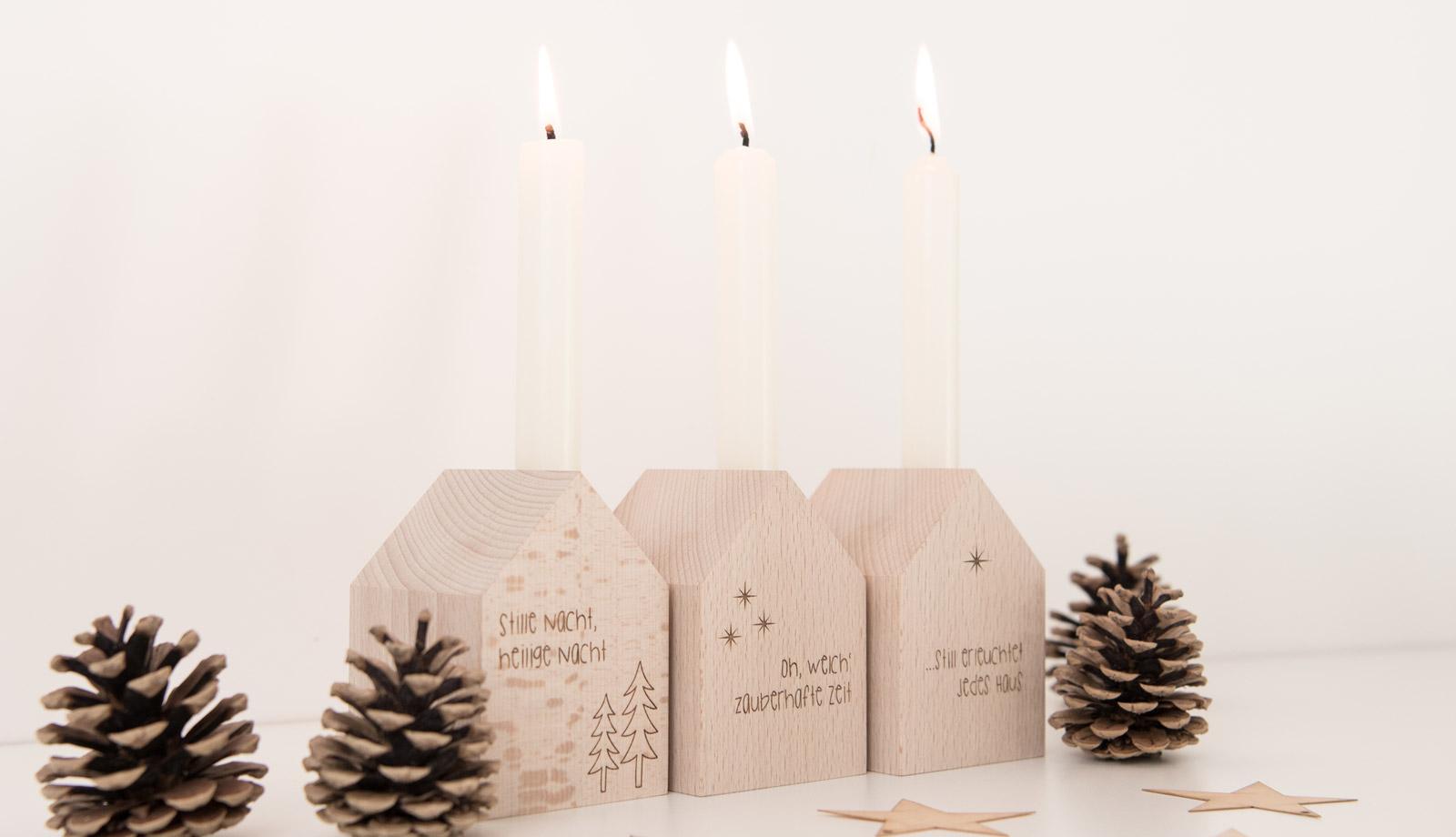 Deko Häuschen mit Kerze, weihnachtlich graviert