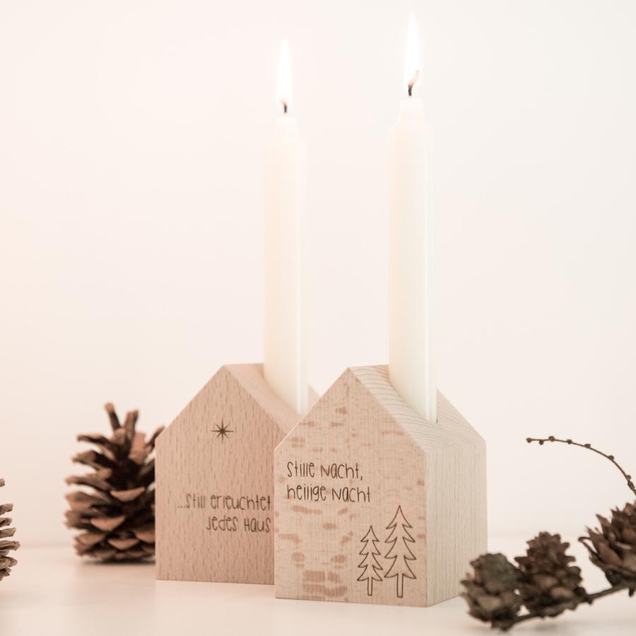Deko Häuschen Stille Nacht, Heilige Nacht, mit Kerze
