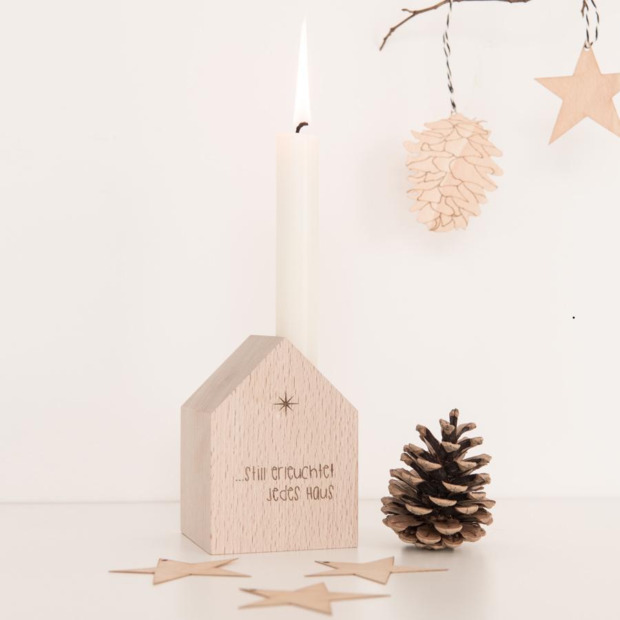 Deko Häuschen Weihnachten Holz graviert