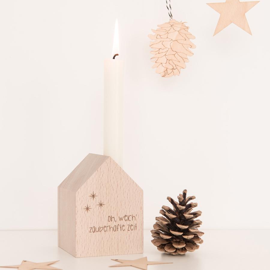 Dekohäuschen Weihnachten Holz mit Kerze
