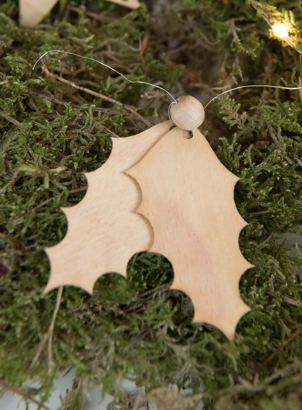 Deko Ornament Stechpalme Holz