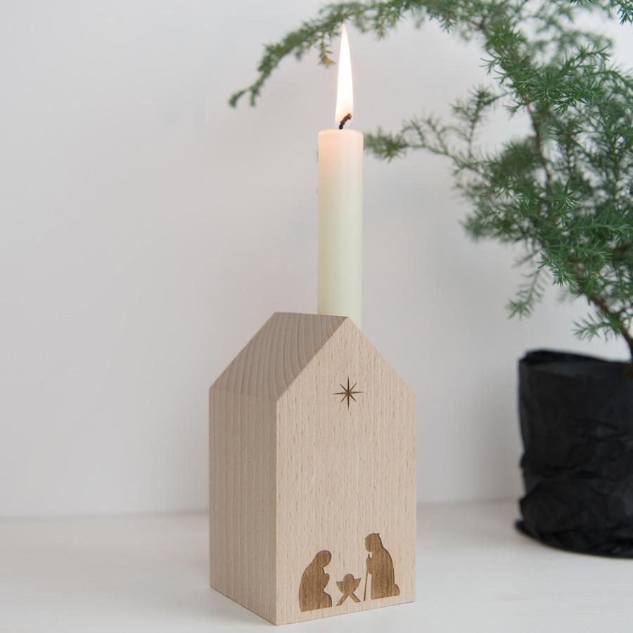 Minimalistische Krippe aus Holz - hergestellt in Deutschland