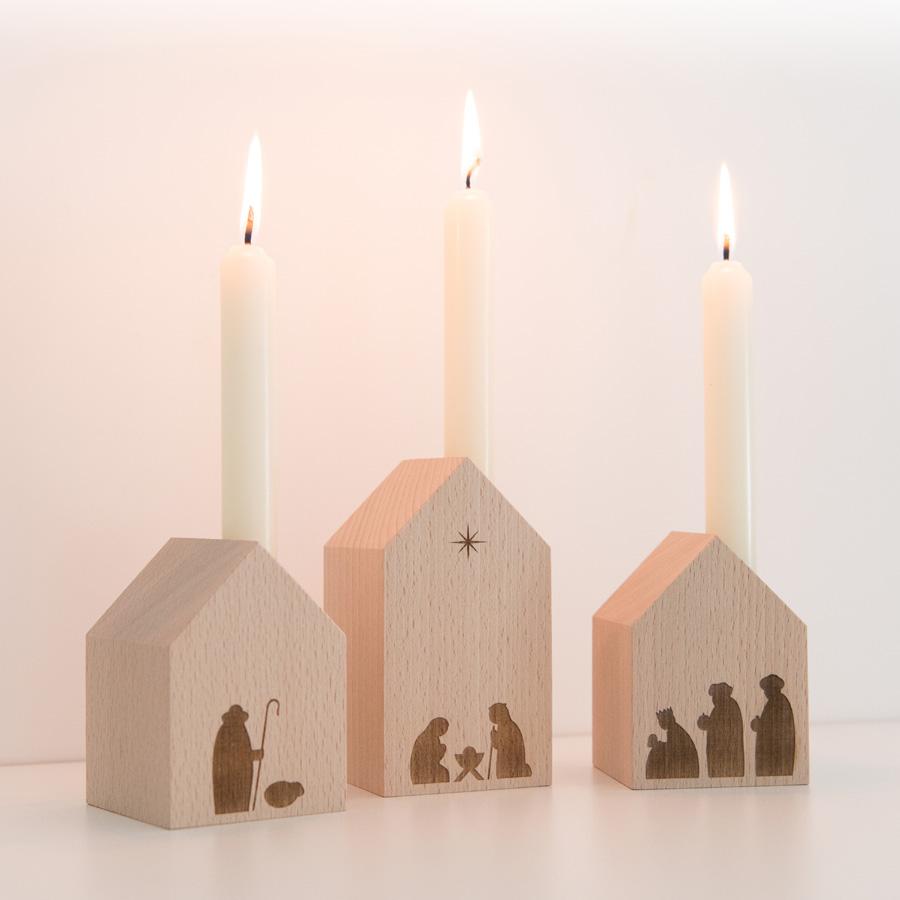Minimalistische Design-Krippe aus Holz