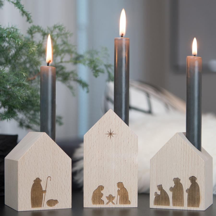 Minimalistische Krippe für die Weihnachtszeit