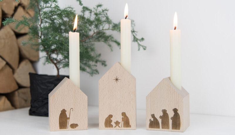 Minimalistische Krippe aus Holz