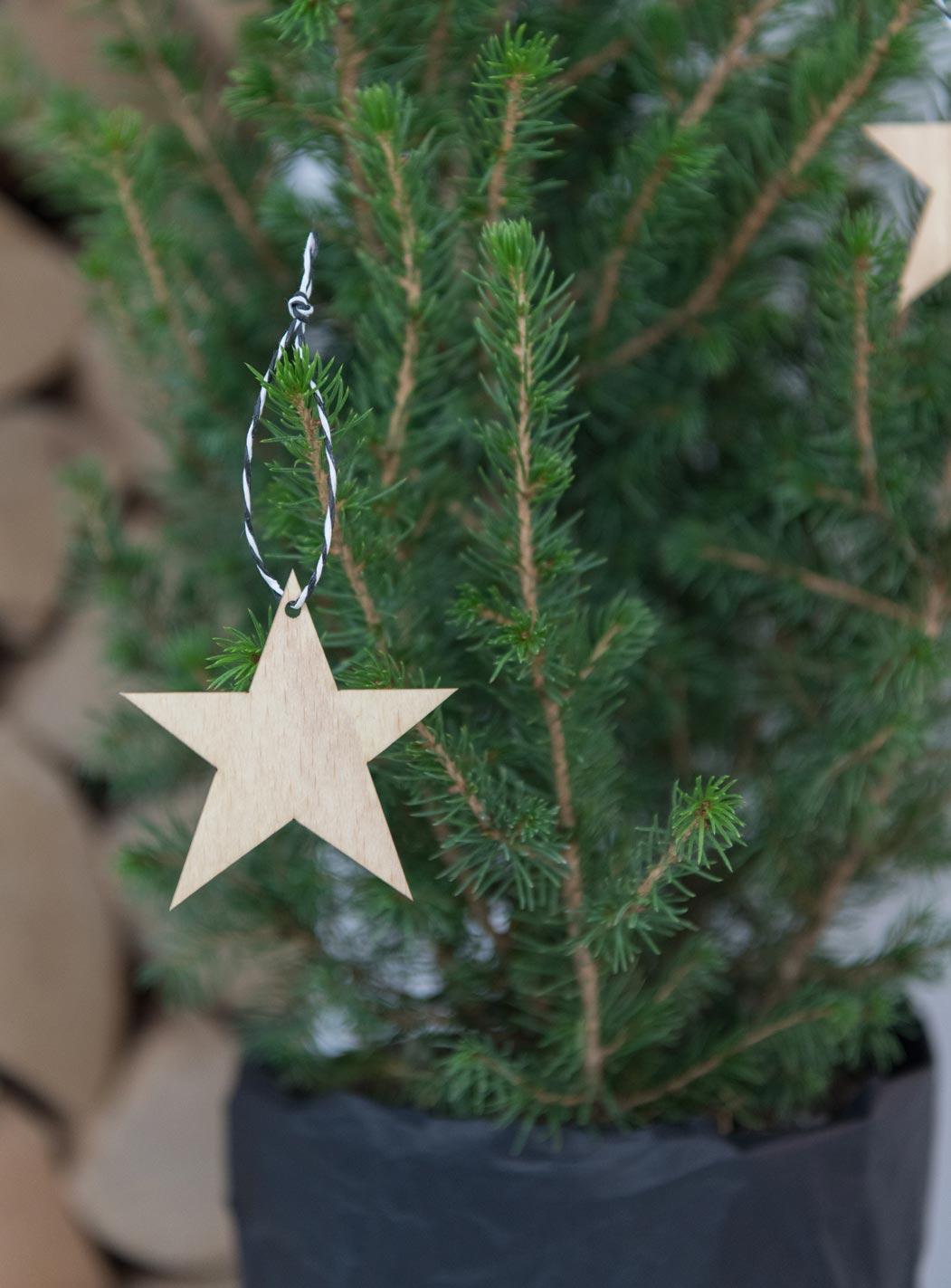 Weihnachtsanhänger Stern dünnes Holz