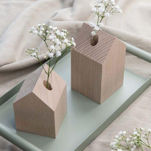 Dekohaus Holz Buche Vase