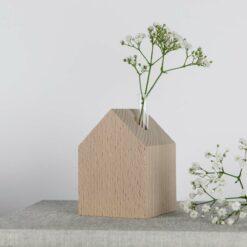 Dekohaus Holz mit Vase