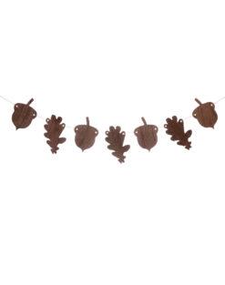 Girlande Blätter Eicheln Holz