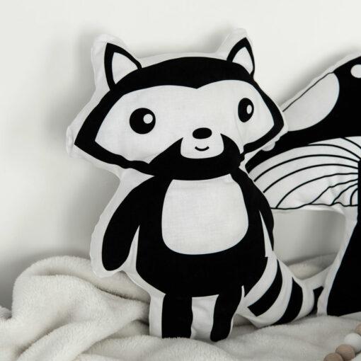 Tierkissen Waschbär schwarz-weiß Kinderzimmer